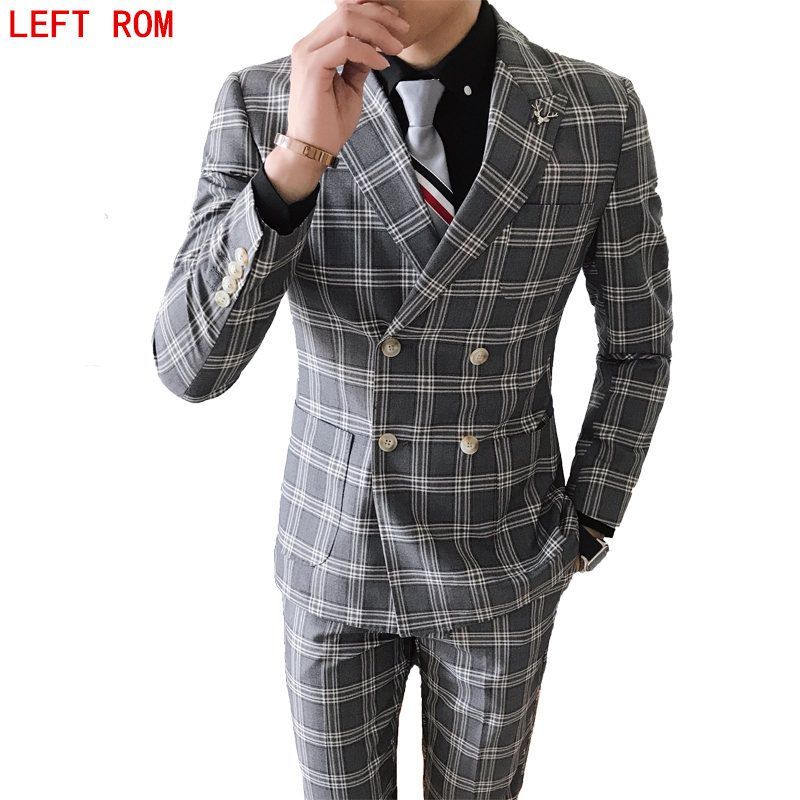 (Jacket+Pants) 2017 High quality Men Suits Fashion grid stripe Men's Slim Fit business wedding Suit men Wedding suit