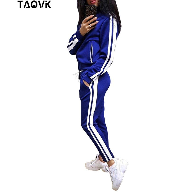 TAOVK Autumn Womans Sportswear Black White Striped Autumn Casual Tracksuits gymnastics female Running set Sporting suits