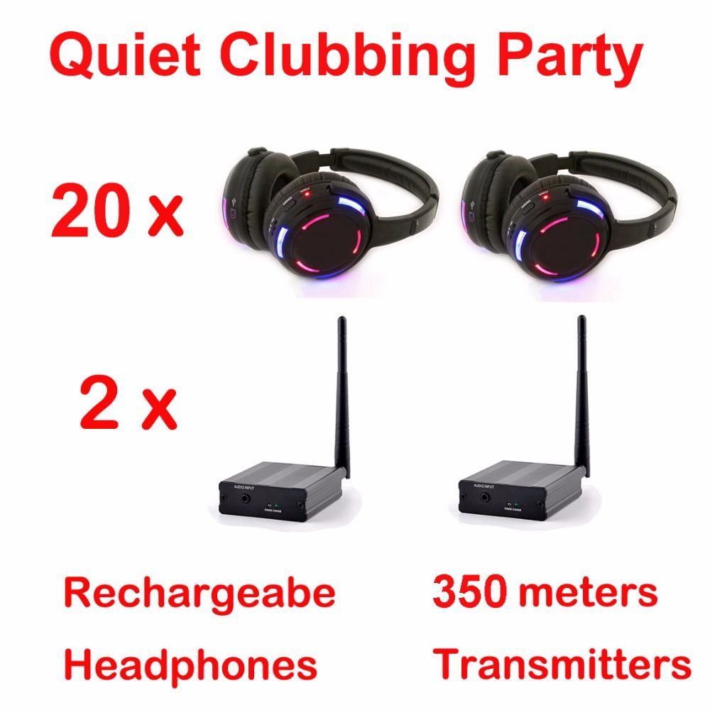 Silent Disco complete system black led wireless headphones - Quiet Clubbing Party Bundle (20 Headphones + 2 Transmitters)