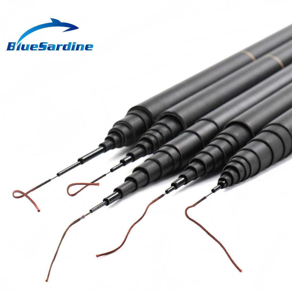 BlueSardine Nouvelle Pêche À La Carpe Pôle Flux de Main de Tige Télescopique Canne À Pêche à Pêche En Carbone S'attaquer 4.5 m 5.4 m 6.3 m 7.2 m 8 m