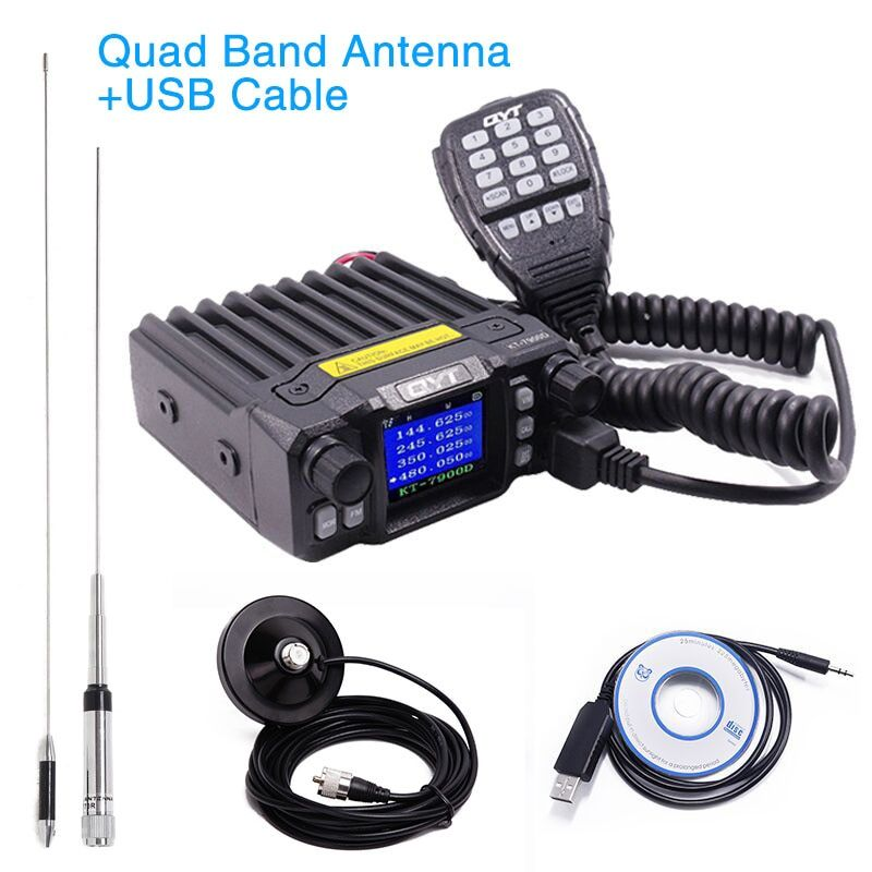 QYT KT-7900D 25W Quad Band Car Mobile Two Way Radio Walkie Talkie KT7900D 144/220/350/440MHZ 4 Bands KT 7900D Mobile Transicever