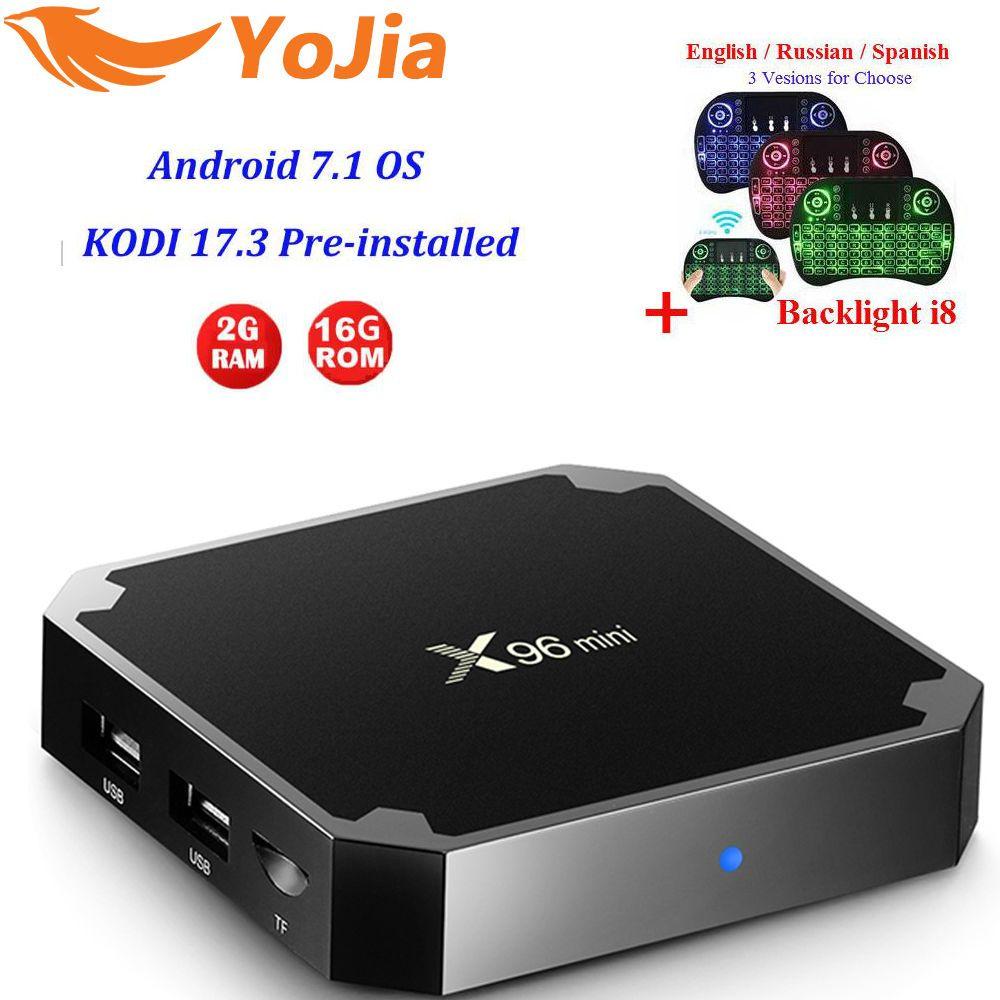 Yojia 2GB16GB Amlogic S905W X96 mini Android 7.1 TV BOX 1G8G Quad Core 4K 2.4GHz WiFi X96mini Smart X96 Media Player