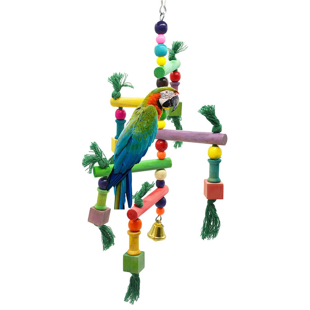 Wood bird toys Handcraft Non-toxic eco-friendly Colorful Bird Toy small and medium parrots Toys with beads can be bite