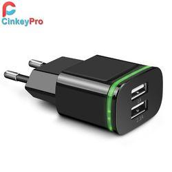 CinkeyPro UE Plug 2 Ports LED Lumière USB Chargeur 5 V 2A mur Adaptateur Mobile Téléphone Micro Données De Charge Pour iPhone iPad Samsung
