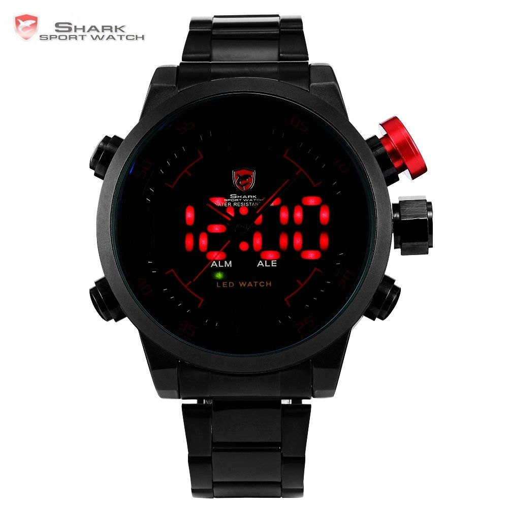 Gulper SHARK Sport Watch Digital LED Men's Top Brand Luxury Black Red Calendar Steel Band Wrist Quartz-Watch Reloj Hombre /SH105