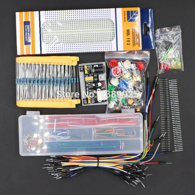 Générique Pièces Paquet kit + 3.3 V/5 V power module + MB-102 830 points de Planche À Pain + 65 Flexible câbles + cavalier boîte sans cas