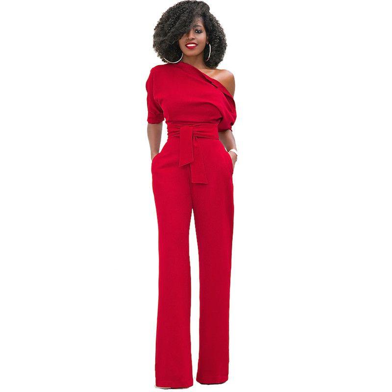 Mode Oblique Salopette 5 Couleur Solide Femmes Bureau Casual Manches Demi Slim Fit Longue Salopette Salopette d'une Seule pièce Pantalon w/Ceintures