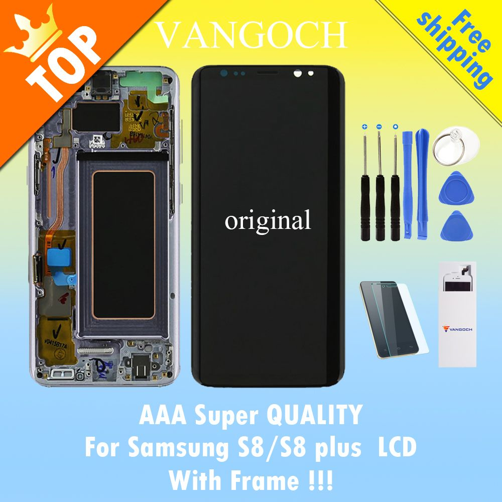 Original Super Amoled LCD Screen for Samsung Galaxy S8 Display G950 S8 Plus G955 Assembly Replacement with frame and free gift