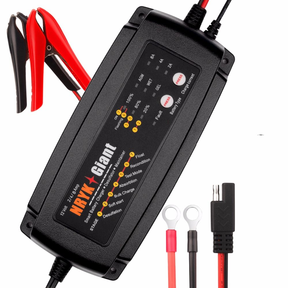 Warranty 2 Years 12V 2A/4A/8A Smart Car Battery Charger Maintainer & Desulfator for AGM GEL WET Batteries 6-160AH