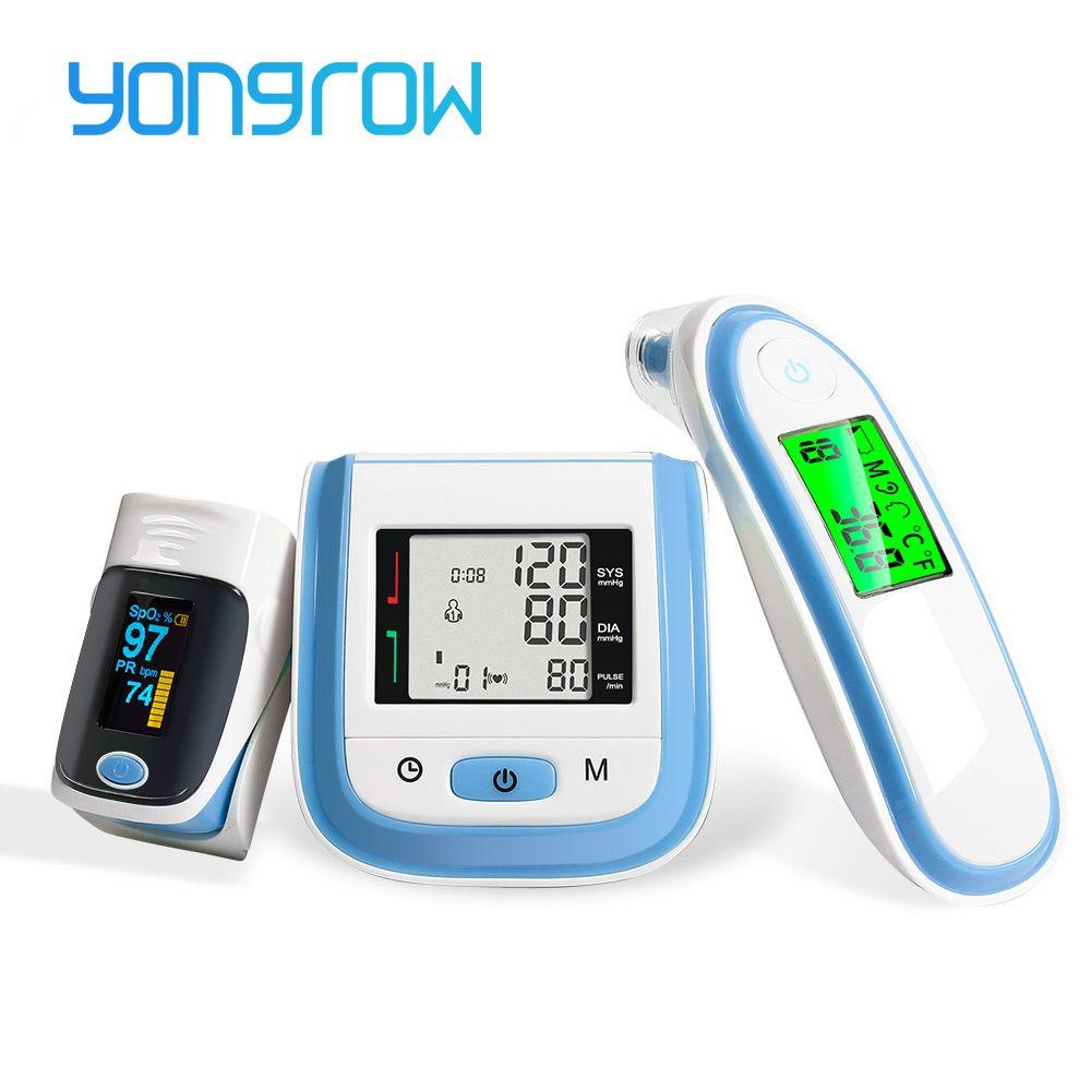 Yongrow numérique oxymètre de pouls médical SpO2 poignet tensiomètre oreille thermomètre infrarouge oxygène PR sphygmomanomètre