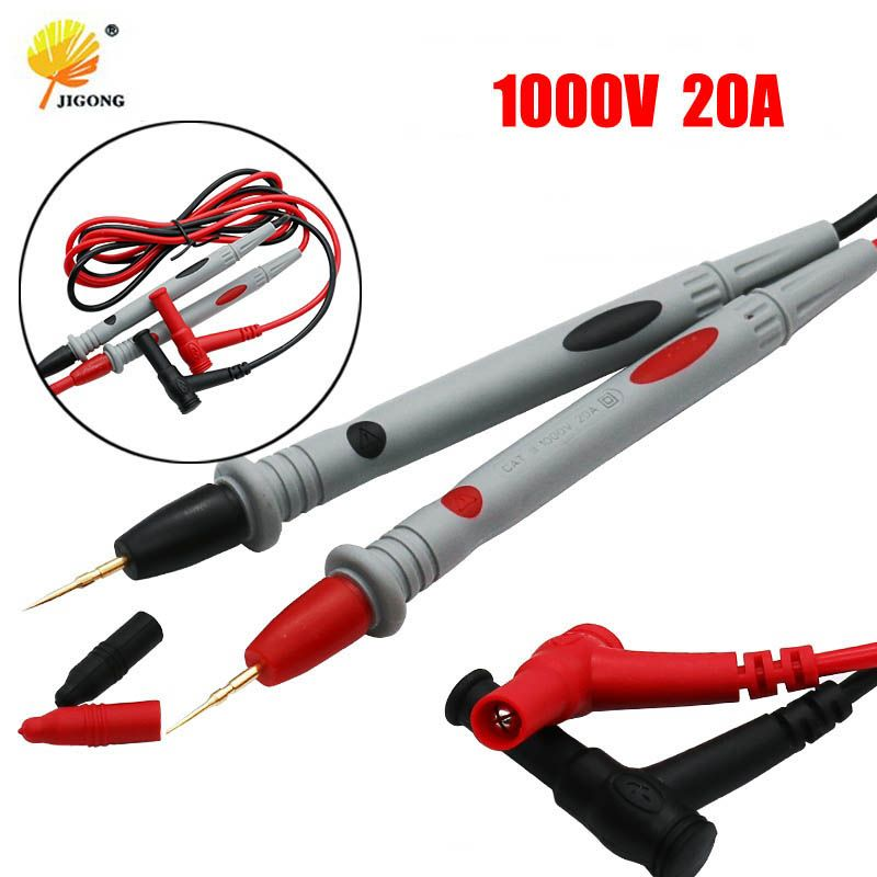 1 Pair Universal Probe Test Leads Pin for Digital Multimeter Needle Tip Meter Multi Meter Tester Lead Probe Wire Pen Cable 20A