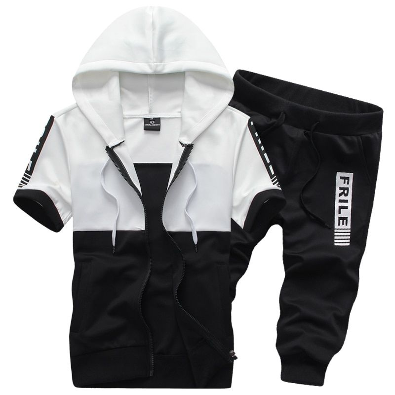 2018 Summer Men's Short Sleeve Hooded Jackets and Pants 3XL White Black Gray Teen Fashion Casual Movement Exercise 2 Piece Set