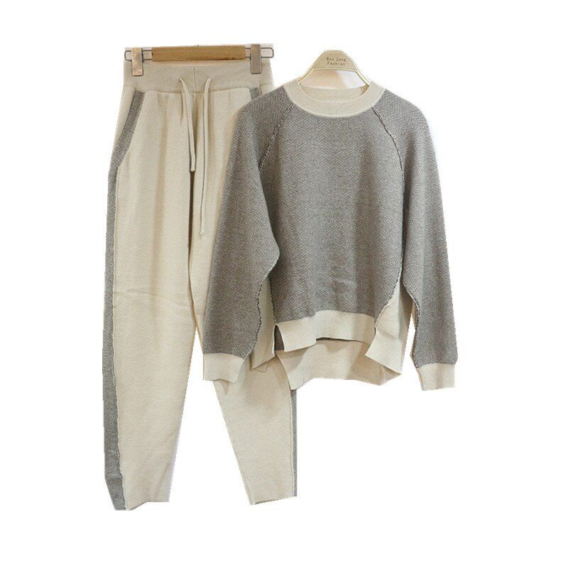 New high-end winter knitted mink cashmere suit fashion women color cotton Crewneck sweater trousers Pedicure winter two piece