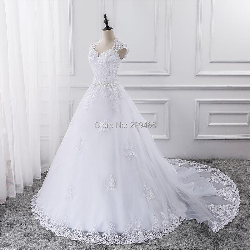 High Quality Lace Wedding Dress With Sleeveless Custom Made Bride Dress A-line Open Back vestidos de noiva 2017 Detachable Train
