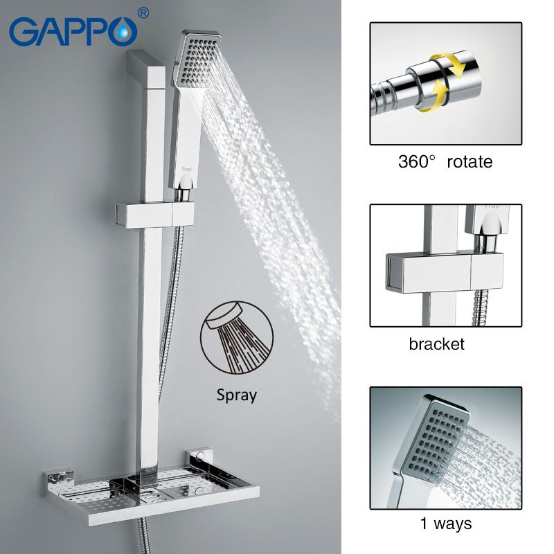 GAPPO bathroom Shower Slide Bar shower faucet mixer taps sliding shower bar Soap Dish holder bath shower ABS Chrome GA8010