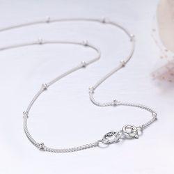 35-80 см тонкий чистый серебряные бусины 925 пробы бордюр колье-цепь женские ювелирные изделия для девочек Коле collares collier ketting