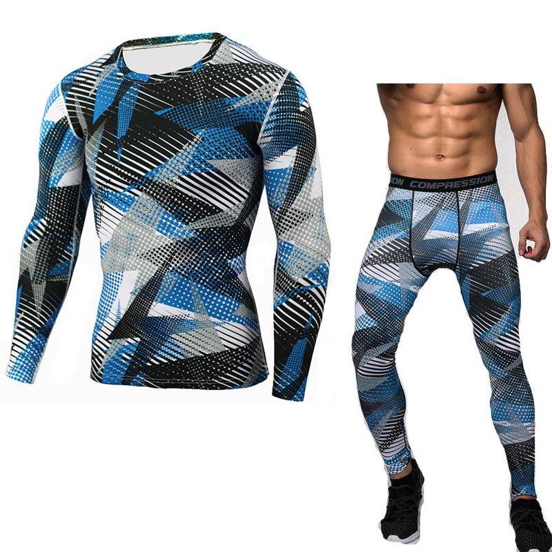 crossfit compression shirt MMA rashgard union suit 2017 Men's Long Sleeve T-Shirt + tights for men Set  pants  Fitness Clothing