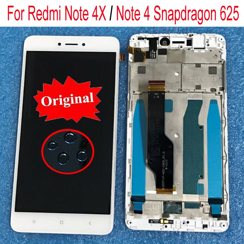 Original For Xiaomi redmi note 4X note 4 Global Version Snapdragon 625 LCD display+ touch digitizer with frame for redmi note 4X