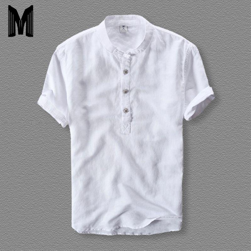 Hommes chemises mode 2019 été à manches courtes Slim coton lin lâche chemises mâle blanc couleur décontracté chemises de grande taille hauts Y001