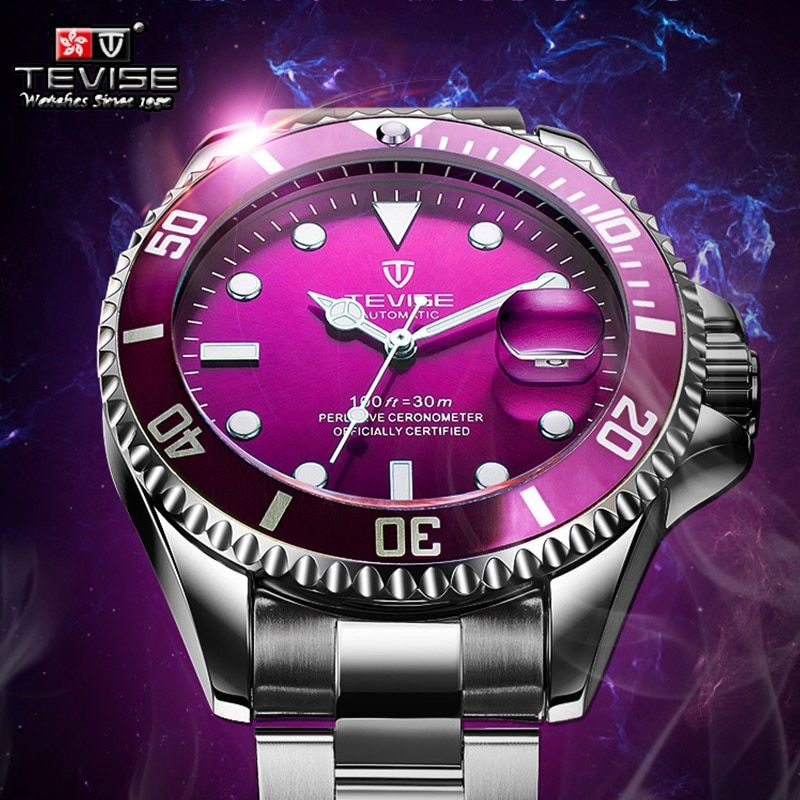 Hot Tevise Men Mechanical Watch Automatic Date Fashion luxury submariner Clock Male Role Sport Business Clock Relogio Masculino