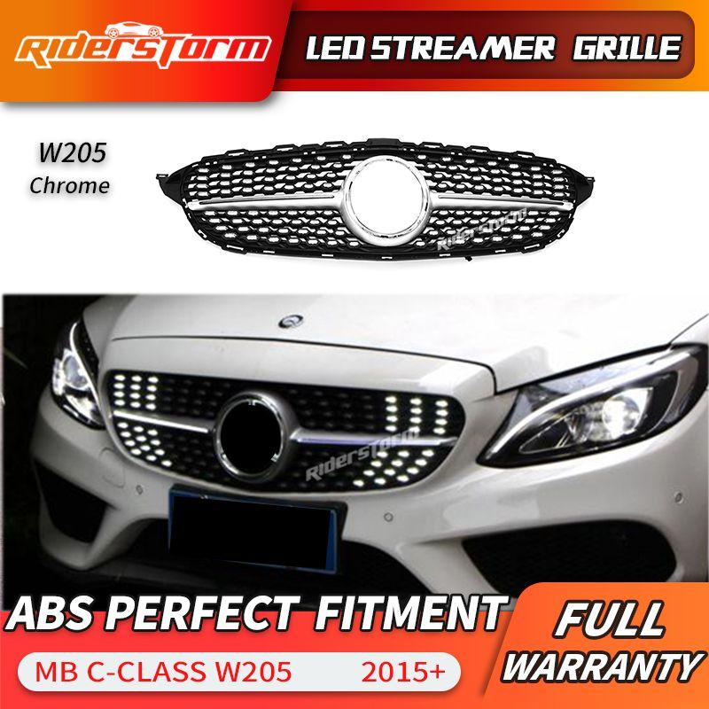 Für C klasse W205 Led Grill Streamer Diamant Front Mesh Grille LED DRL grid Für C180 C200 C250 C300 LED facelift frontschürze