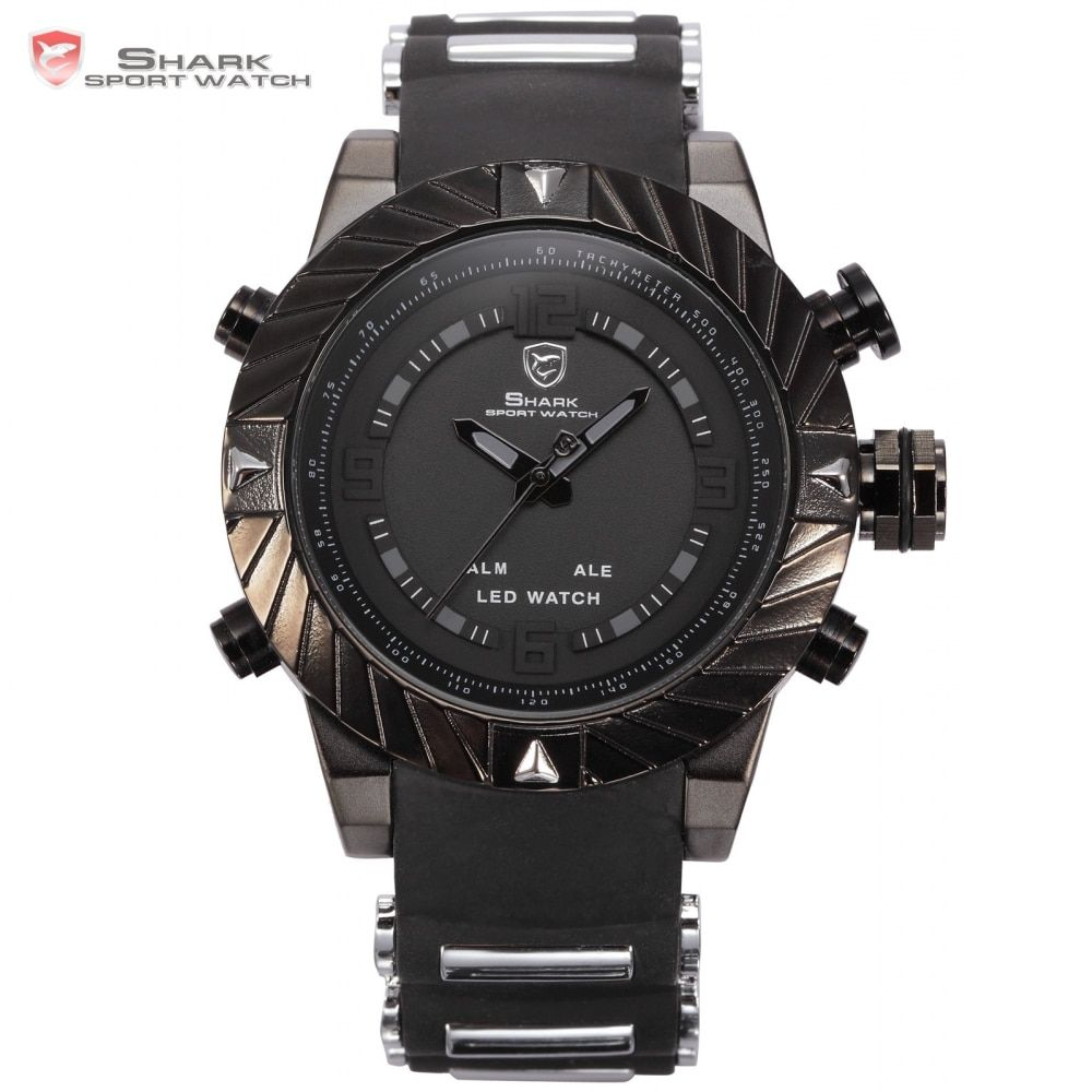Goblin Shark Sport Watch 3D Logo Dual Movement Waterproof Full Black Analog Silicone Strap Fashion Men Casual Wristwatch / SH165