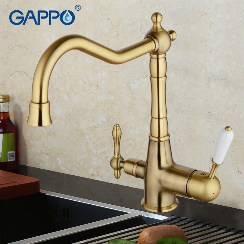 GAPPO water filter faucet torneira kitchen faucet bronze antique brass kitchen sink mixer tap Crane drink water Faucet GA4391-4