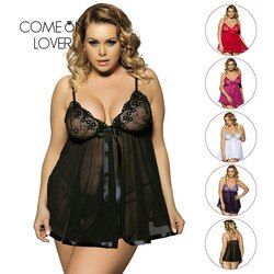 Comeonlover Sexy Clothes Erotic Underwear Women Baby doll Sexy Lingerie Hot Transparent Plus Size 6XL Lingerie Sleepwear EI2073