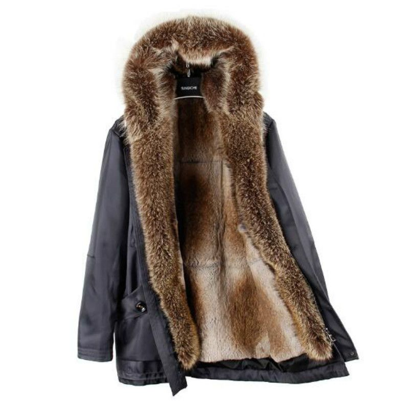 2018 new fashion detachable rex rabbit fur liner to overcome in the long section hooded Nie overcoat jacket raccoon fur collar j