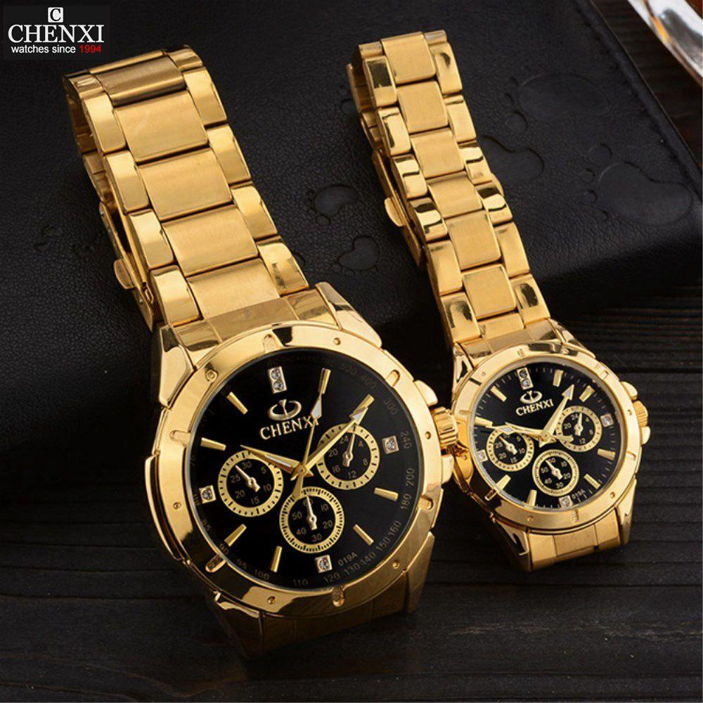 CHENXI amoureux montres à Quartz femmes hommes montres en or Top marque de luxe femme mâle horloge IPG en acier doré montres PENGNATATE