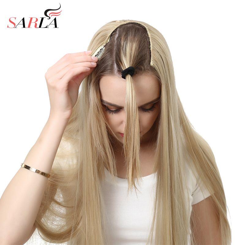 SARLA 24 170g u-part Clip dans l'extension de cheveux droite et ondulée Ombre une pièce pleine tête longue naturelle faux synthétique postiches