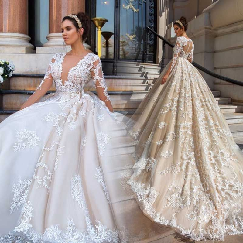 Gorgeous Lace Ball Gown Wedding Dresses 2019 Sexy Illusion Appliques Nude tulle Long Sleeve Bridal dress Gowns Vestido De Noiva