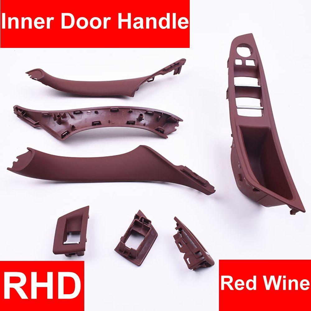 4/7 PCS Rechts Hand Stick RHD Für BMW 5 series F10 F11 520 525 Wein Auto Innen Tür griff Inneren Panel Pull Trim Abdeckung Armlehne
