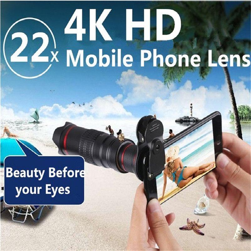 Clip Holder HD 4 k 22x Zoom Téléphone Mobile Télescope Lentille Téléobjectif Externe Smartphone Caméra Lentilles Pour IPhone Sumsung téléphones