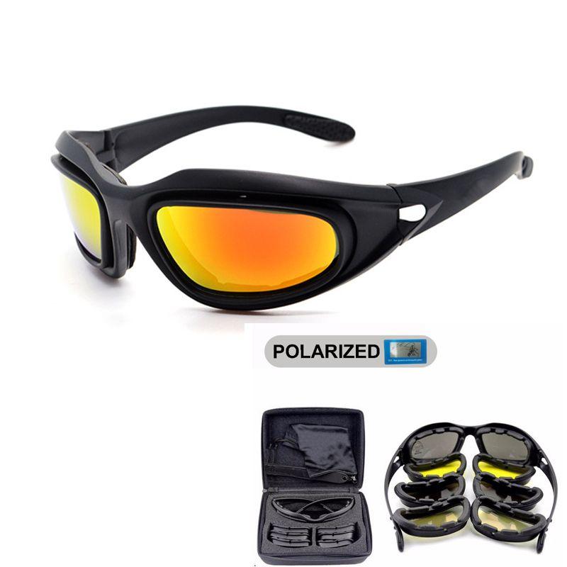 D A I S Y. C5 Polarized Army Goggles, Military Sunglasses 4 <font><b>Lens</b></font> Kit, Men's Desert Tactical Glasses Sporting Polarized Glasses