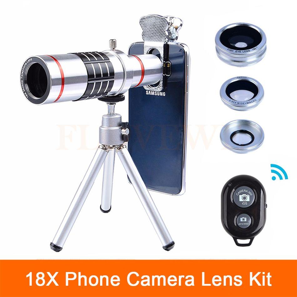 2017 Universal 18X Telescope Zoom Telephoto Microscope Lens Fish eye Wide Angle Macro lenses For Smartphone Cell Phone Lentes