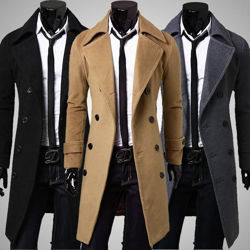 Aliexpress selling European style <font><b>double</b></font> breasted coat lengthened simple luxury wool coat male