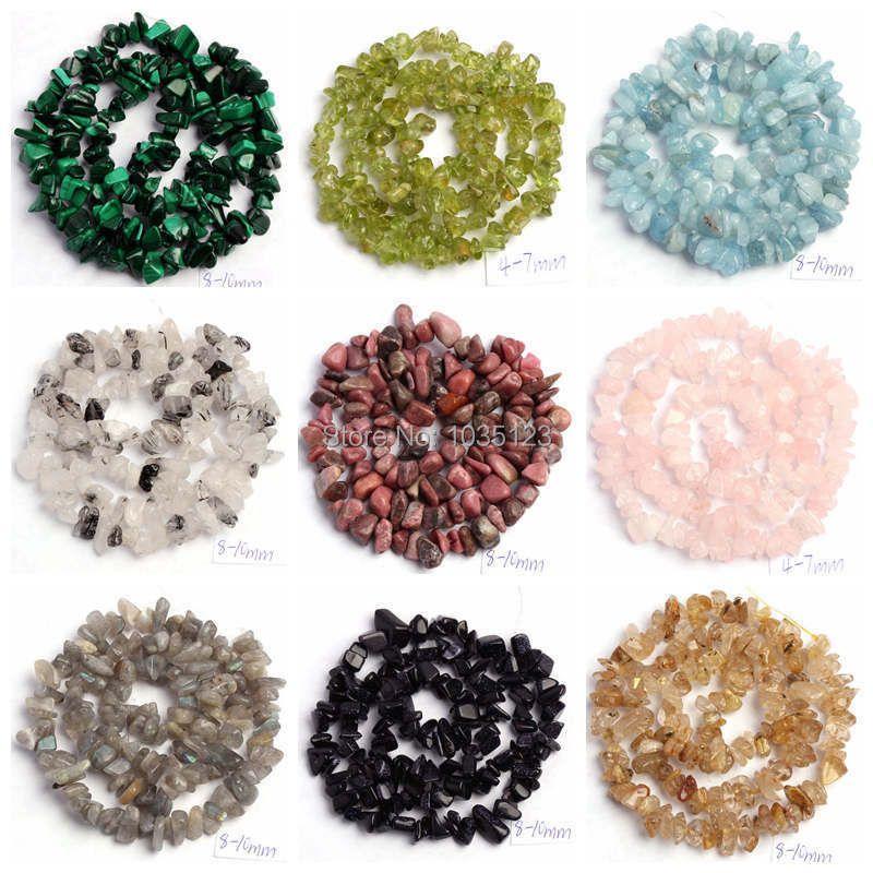 Бесплатная доставка 5-8 мм натуральный 18 Тип Материал камень Freeform Гравий Сыпучие Бусины strand 16