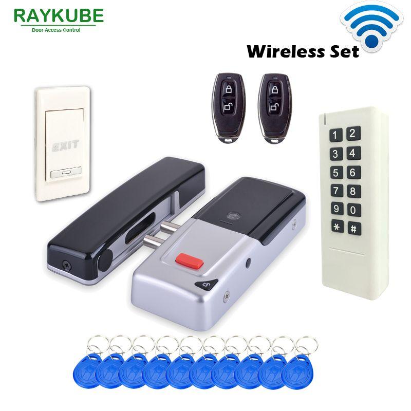 RAYKUBE Neue Drahtlose 433 mhz Access Control Kit Drahtlose Elektrische Türschloss RFID Tastatur Fernbedienung Exit-Button