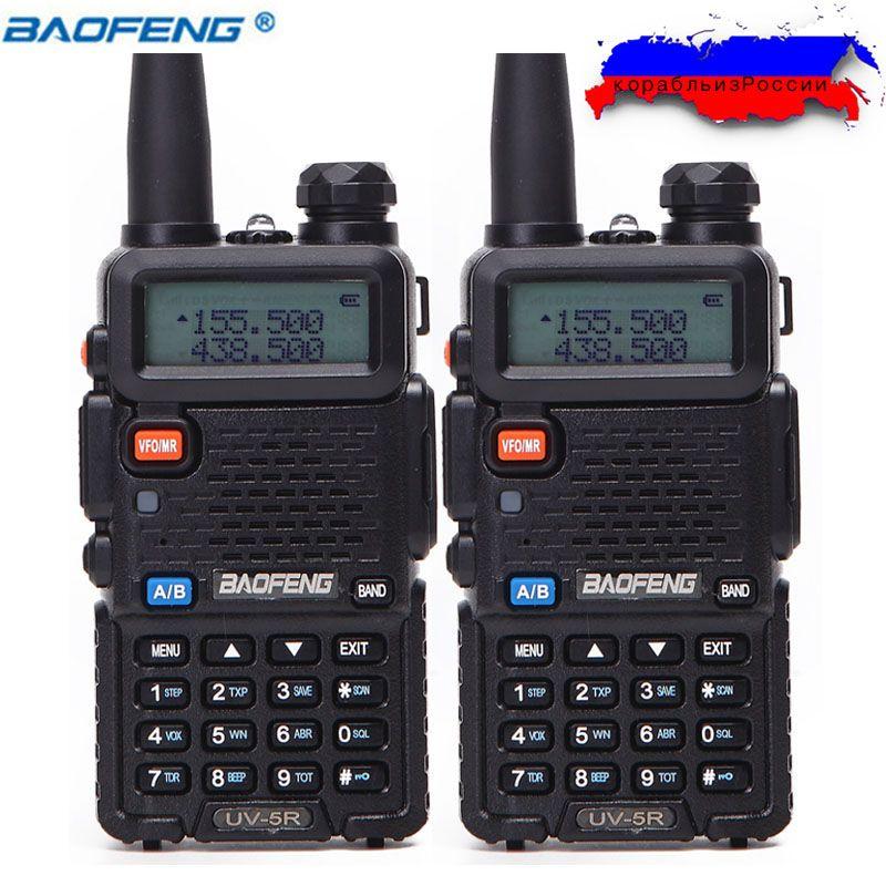2 Pcs BaoFeng UV-5R Talkie Walkie VHF/UHF136-174Mhz & 400-520 Mhz Dual Band Two way radio Baofeng de poche UV5R Portable Ham Radio