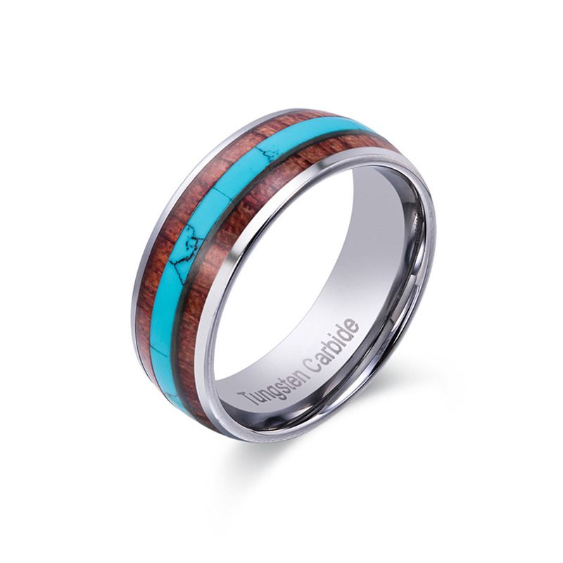 2018 New Arrival 8mm Width Tungsten Carbide Wedding Rings Dome Band Inlay Natural Wood & Turquoise Comfort Fit Size 8-12