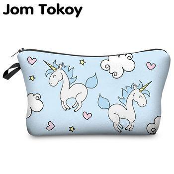 Jom Tokio 3D impresión unicornio bolsa Multicolor patrón lindo cosméticos para viaje señoras bolsa mujeres maquillaje bolsas