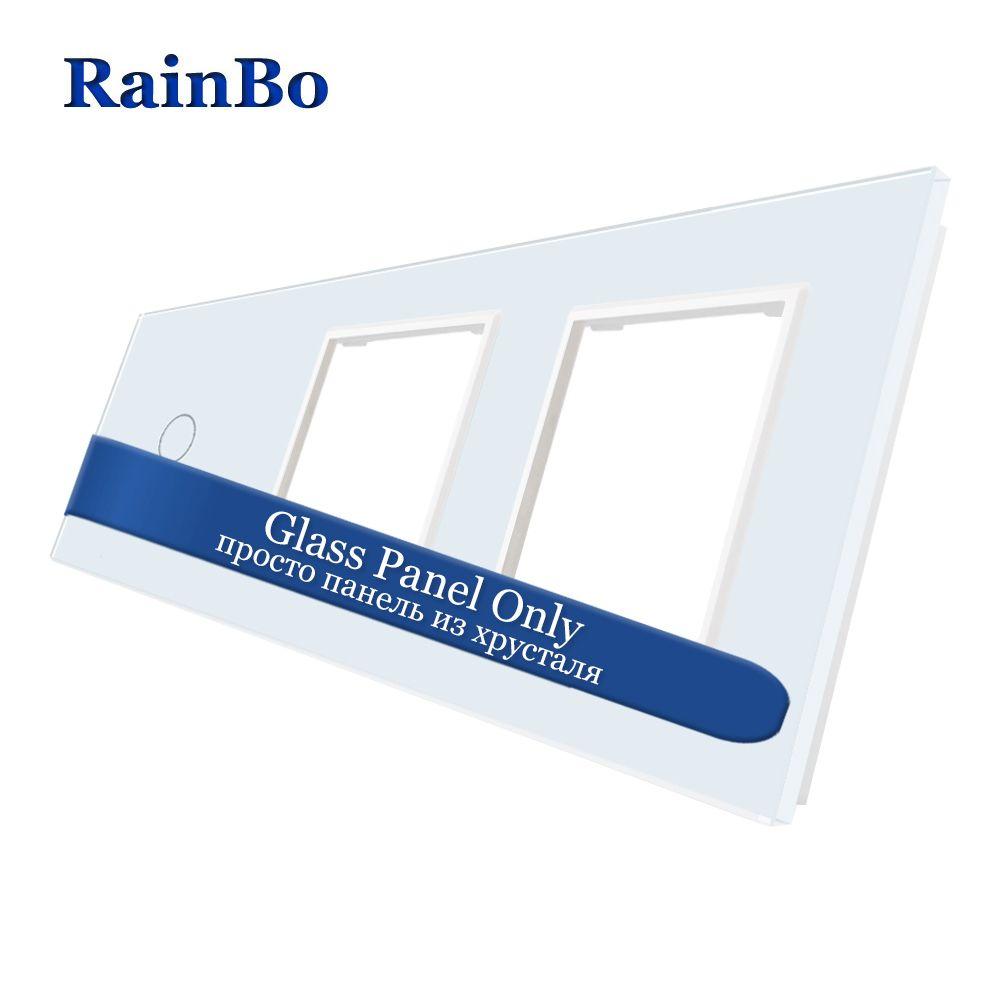 RainBo Luxury-Crystal Glass-Panel 3Frame-1gang touch-wall switch-2wall socket-hole EU DIY-Accessories A39188W/B1