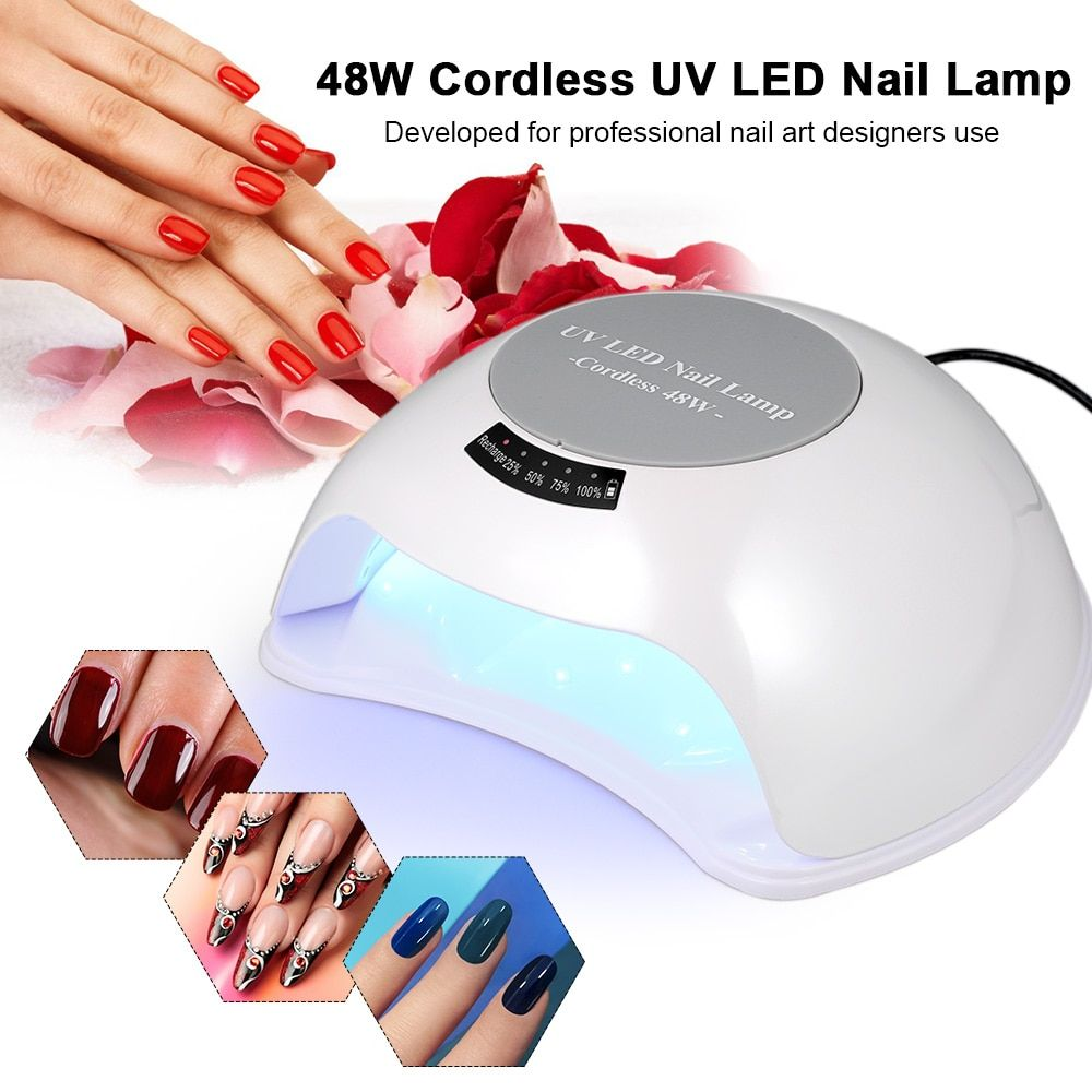 48W Cordless UV LED Nail Lamp Rechargeable Nail Gel Dryer Fingernail & Toenail Gel Curing Machine Nail Art Painting Nail Tool