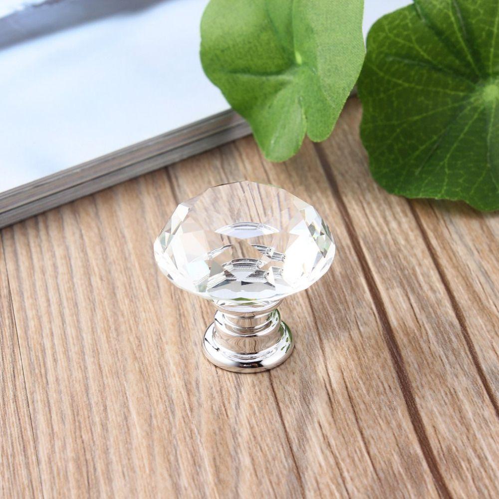 10 pcs/paquet 30mm diamant forme cristal verre tiroir armoire boutons et poignées de traction cuisine porte poignées garde-robe matériel