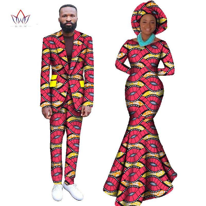 Vestido de 2017 Vestidos para Las Mujeres Africanas Africano Bazin Riche Mujeres Maxi Dress & Mens Chaqueta Informal Conjunto 2 unidades Más El Tamaño 6XL WYQ59
