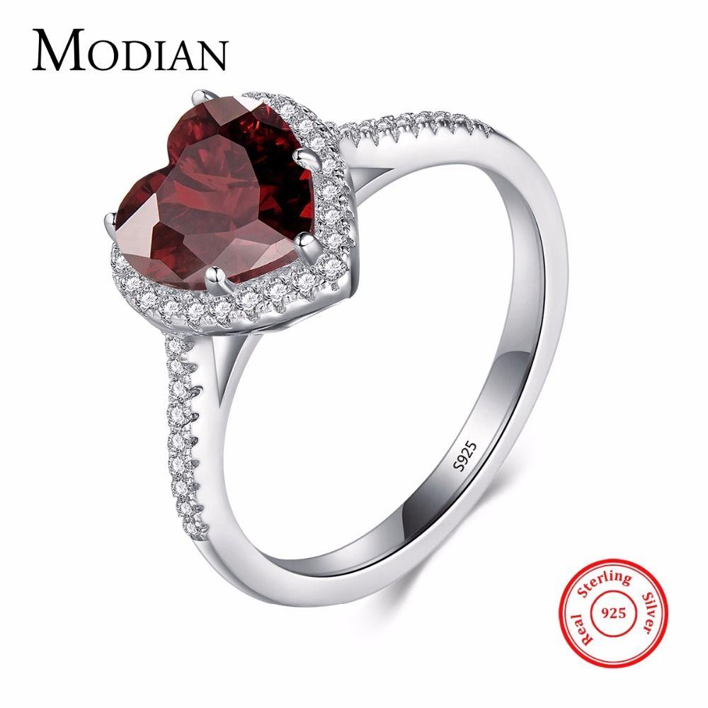 Modian 100% Réel 925 En Argent Sterling Coeur Rouge Anneau 5A CZ Bijoux De Mariage Zircone Engagement de la marque Coeurs Anneaux pour les Femmes cadeau