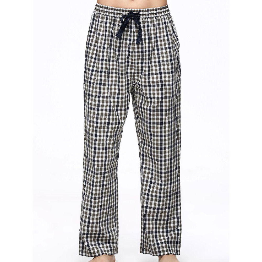 Men's Soft Pure Cotton Plaid Lounge Pants Sleep Trousers