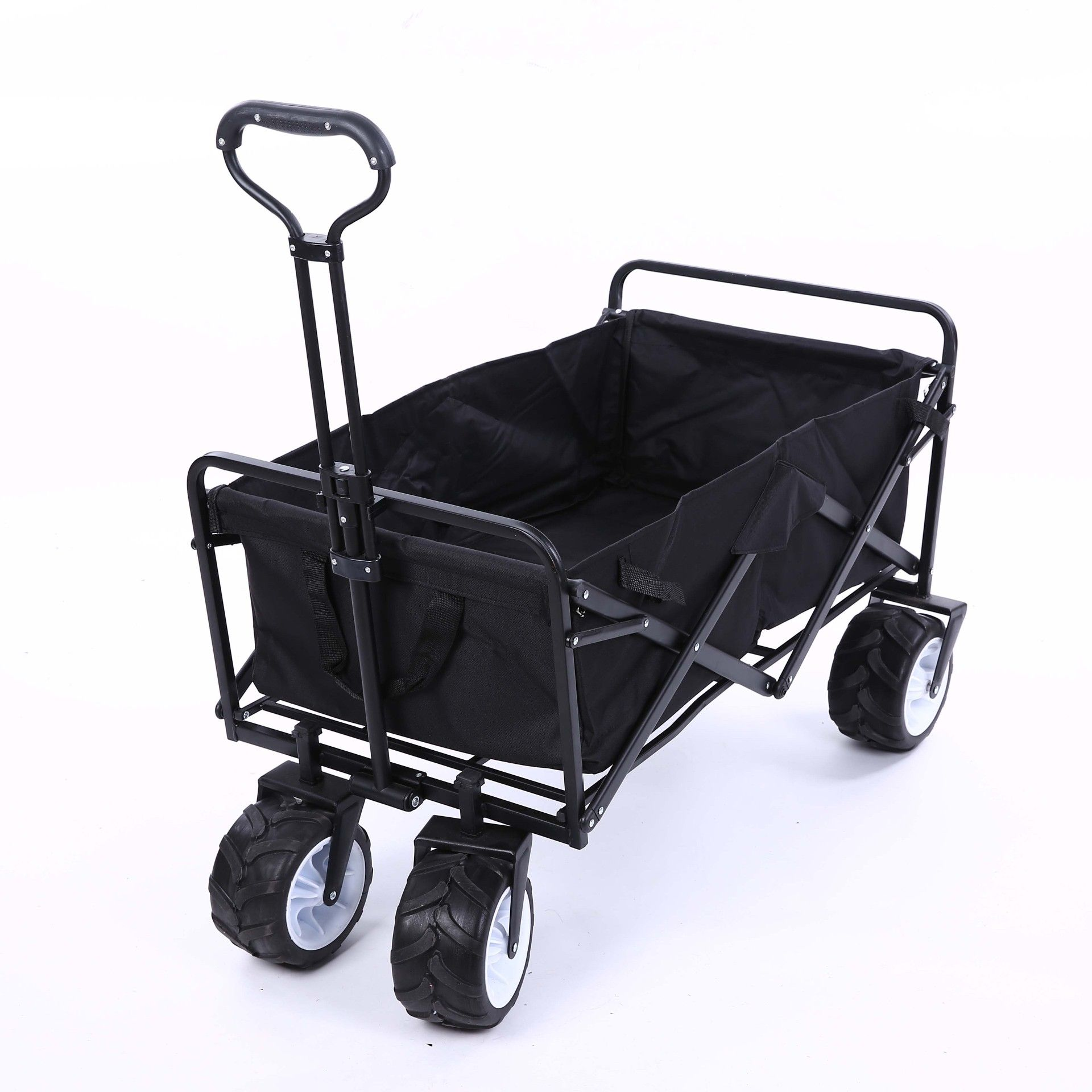 Foldable Portable Stainless Steel+600D Oxford Cloth Four Wheels Pet Stroller Large Space Shopping Cart 150kg Beading