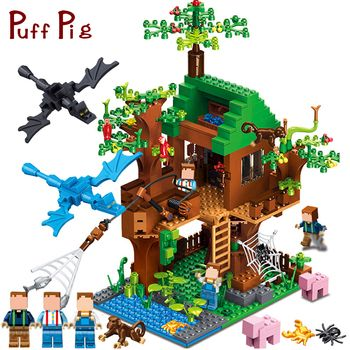 Minecrafted классический Tree House мой мир Совместимость Legoed город рисунках строительных блоков Кирпичи игрушки для детей Рождественский